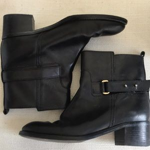 J. Crew Black Leather Ankle Booties, Size 8